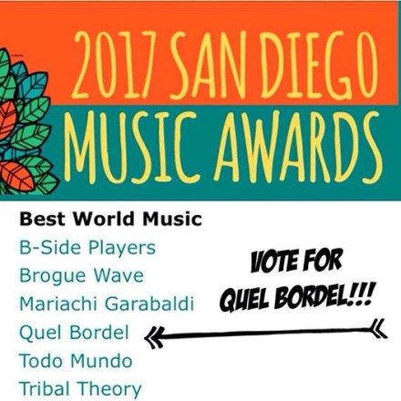 QB Nominated for Best World Music @ SDMA's!